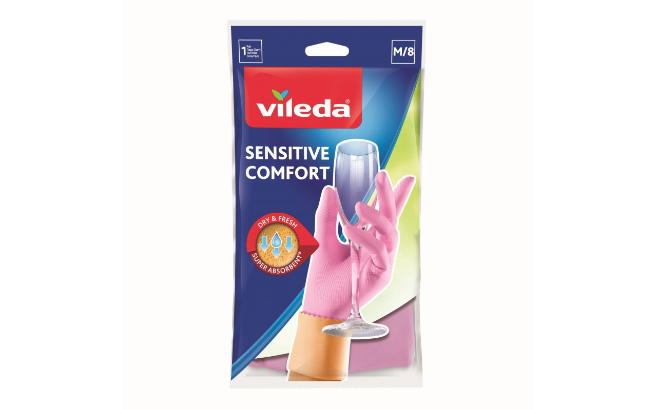 Перчатки латексные для деликатных работ Sensitive ComfortPlus, Vileda, размер М, 1 шт.