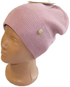 Теплая женская хлопковая шапка с флисовой подкладкой, темная пудра