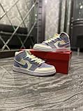 Женские кроссовки Nike Air Jordan 1 Retro Kight Blue, кроссовки найк аир джордан 1 кросівки Nike Air Jordan 1, фото 7