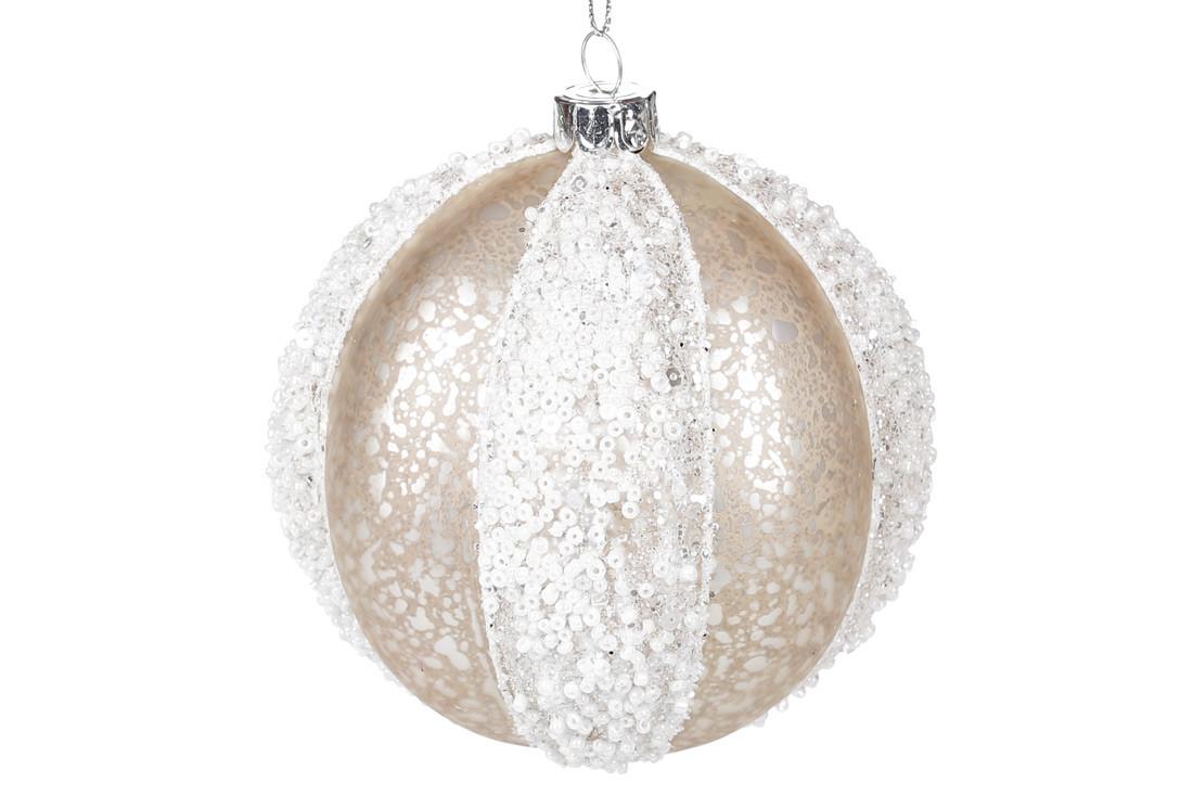 Ялинкова куля скло 10 см, шампань з білим NY15-597/Bonadi