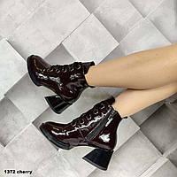 Женские модные ботинки с бордового цвета, фото 1