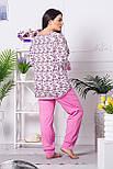 Комплект брючный для дома П1204 Принт цв.+ розовый 2XL (50-52), фото 3