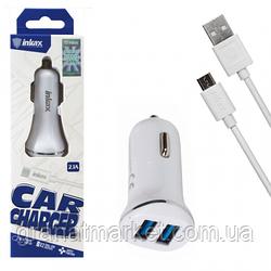 Автомобильное зарядное устройство inkax CC-12 2USB 2.1A micro-USB white