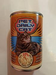 Корм консерва Pet daily cat Пет Дейлi для котiв зі смаком птиці 415 г