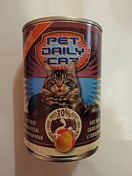 Корм консерва Pet daily cat Пет Дейлi для котiв зі смаком яловичини і груші 415 г