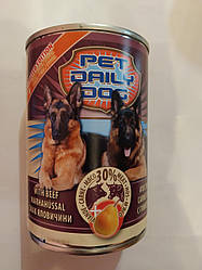 Корм консерва Pet daily dog Пет Дейлi для собак зі смаком яловичини і груші  415 г