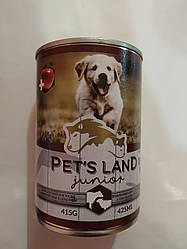 Корм консерва Pet Land dog junior Пет Ленд для цуценят зі смаком яловичини та баранини 415 г