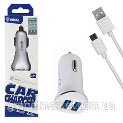 Автомобильное зарядное устройство inkax CC-29 2USB 2.4A micro-USB white