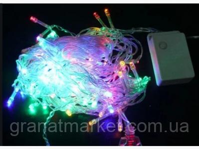 Цветная Гирлянда Бахрама 100 Led 2,2х0,6м с заглушкой на силиконовом проводе RD-7164