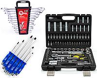 Три набора инструментов Набор головок 108 ед. + Комбинированные ключи 12 штук ht-1203 + 6 ударных отверток
