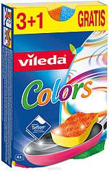 Vileda Губка для посуду з тефлону Віледа Пур Актив кольорові 3+1 шт