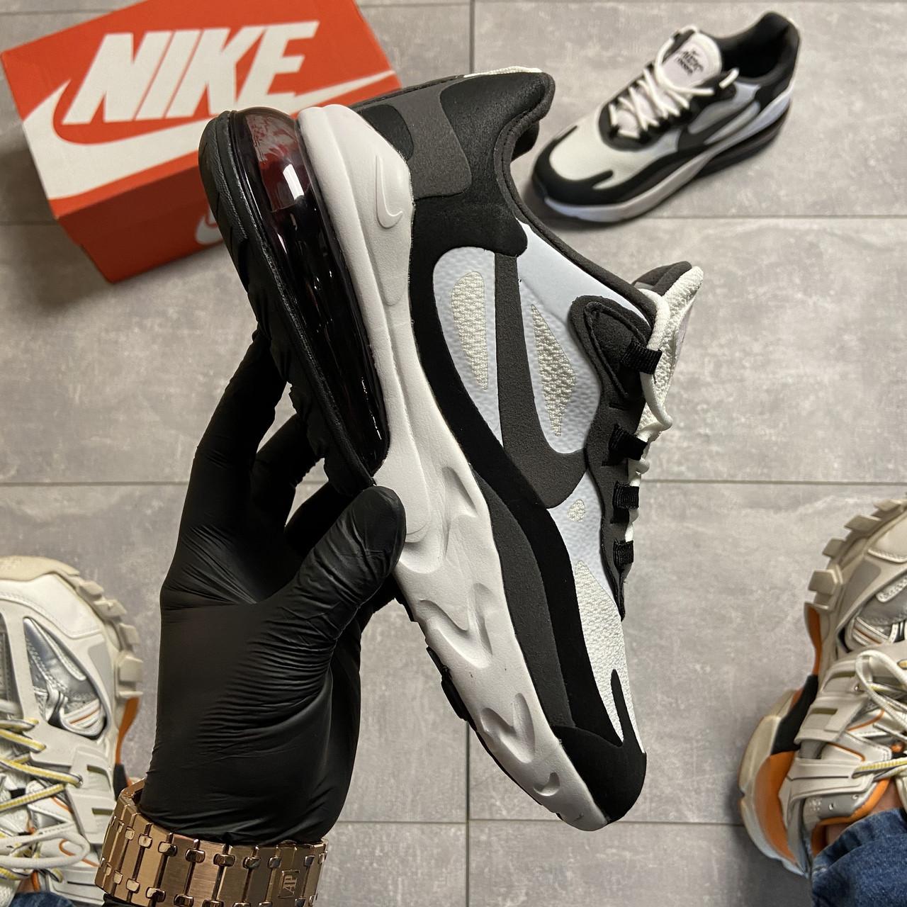 Мужские кроссовки Nike Air Max 270 React Grey White, мужские кроссовки найк аир макс 270 реакт