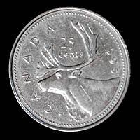 Монета Канады 25 центов 1995 г. Олень, фото 1