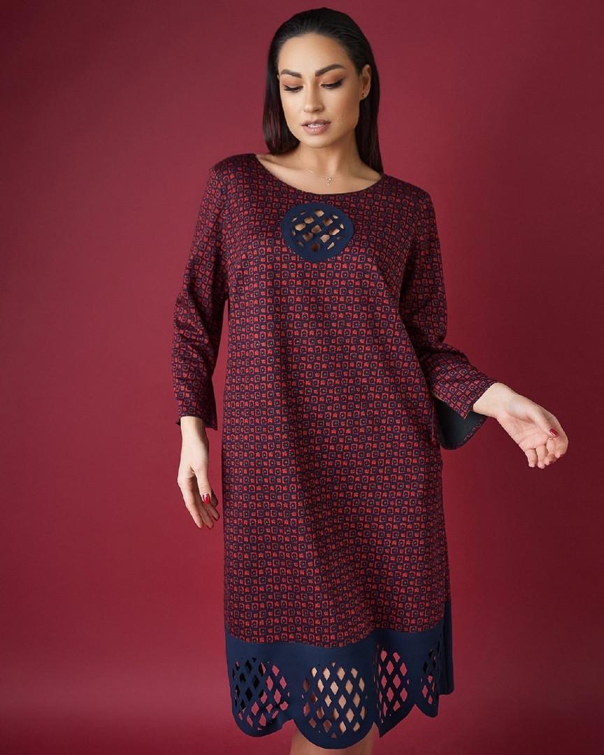 Женское элегантное платье-трапеция большого размера.Размеры:50,52,54+Цвета
