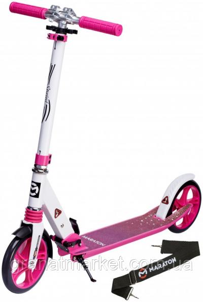 Двухколесный самокат Maraton Sprint Бело-розовый Led фонарик