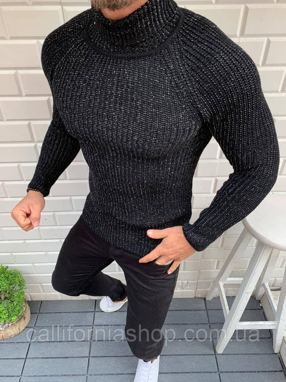 Мужской черный свитер гольф однотонный теплый с высоким горлом, Турция