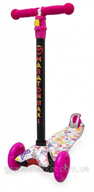 Детский трехколесный складной самокат Maraton Maxi-G с ножным задним тормозом, Бабочки