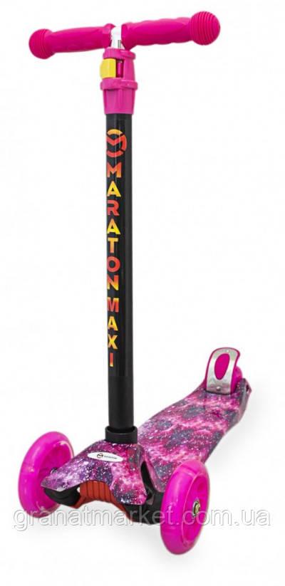 Детский трехколесный складной самокат Maraton Maxi-G с ножным задним тормозом, Розовый Космос