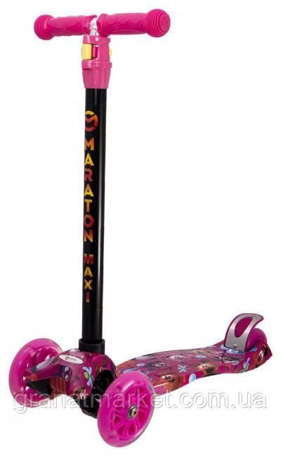 Детский трехколесный складной самокат Maraton Maxi-G с ножным задним тормозом, Смешарики
