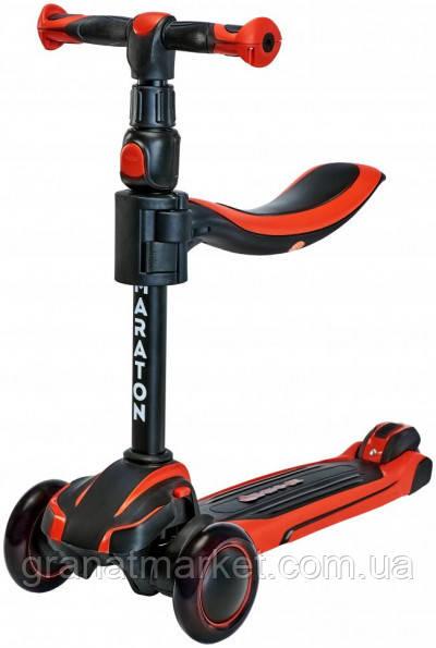 Детский трехколесный складной Самокат-Толокар Maraton Flex B с сиденьем, Красный