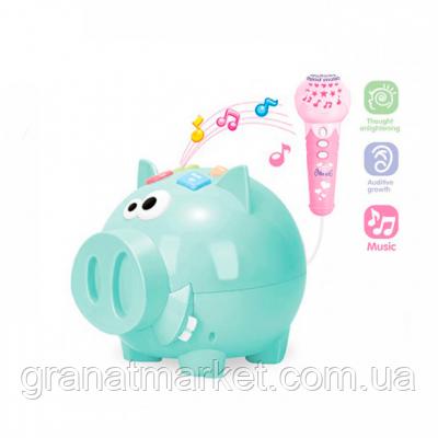 Интерактивная свинка с микрофоном 3292A Зеленая
