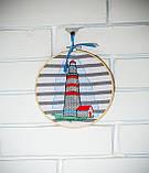 Вышитая картина в пяльцах с маяком, фото 6