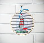 Вышитая картина в пяльцах с маяком, фото 3