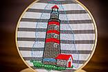 Вышитая картина в пяльцах с маяком, фото 9
