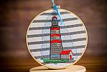 Вышитая картина в пяльцах с маяком, фото 10