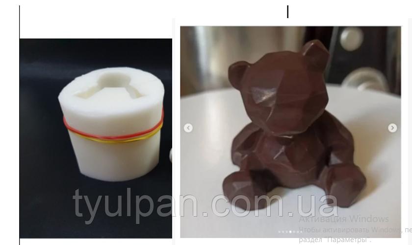 3D Форма силиконовая молд мишка граненный  молд для мыла шоколада мастики свечей