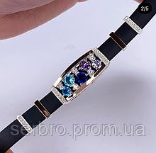 Каучуковый браслет серебро с золотом и фианитами Фабиан