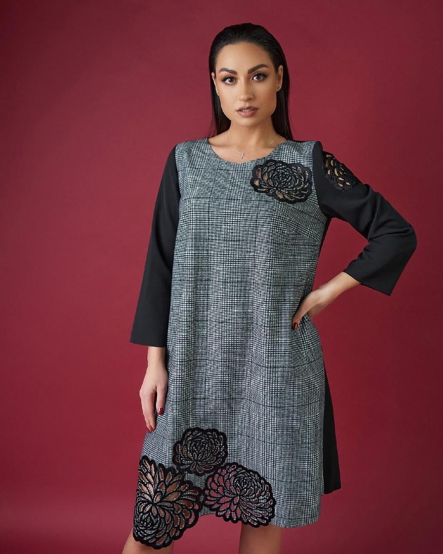 Женское комбинированное платье большого размера украшенное перфорацией. Размеры:50,52,54,56