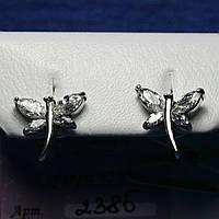 Серебряные пусеты с цирконием Стрекоза 2385, фото 1