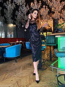 Стильное платье с открытой спиной из сетки с пайеткой 42-46 р