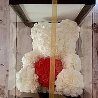 Мишка из 3D роз белый 40 см в подарочной упаковке УПАКОВАН оригинальный подарок для девушки (Настоящие фото)