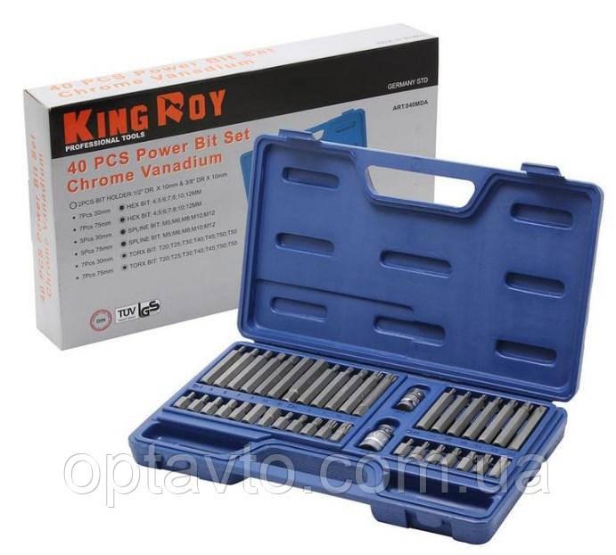 Набор бит 40 предметов. Качественный, профессиональный ручной инструмент King Roy в кейсе. 040-MDA