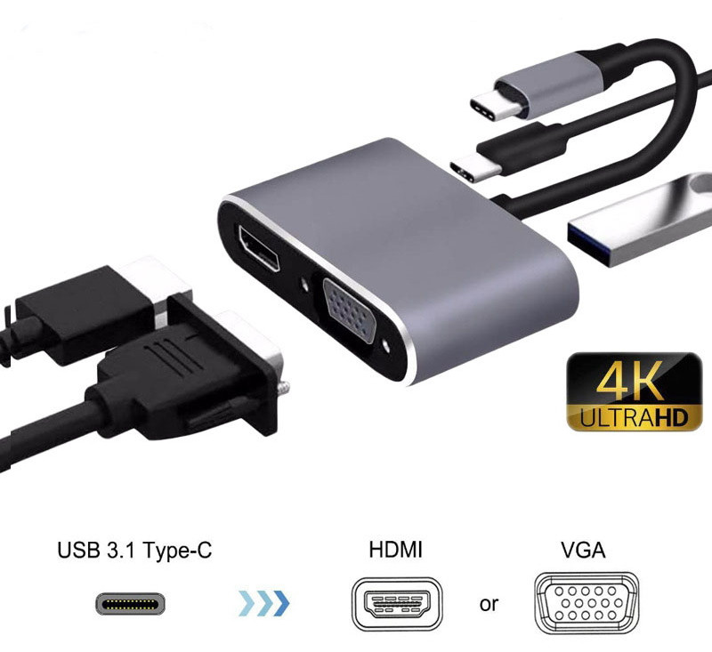 Конвертер USB Type C - to - HDMI / VGA / USB / Type-C Переходник MacBook iMac MHL