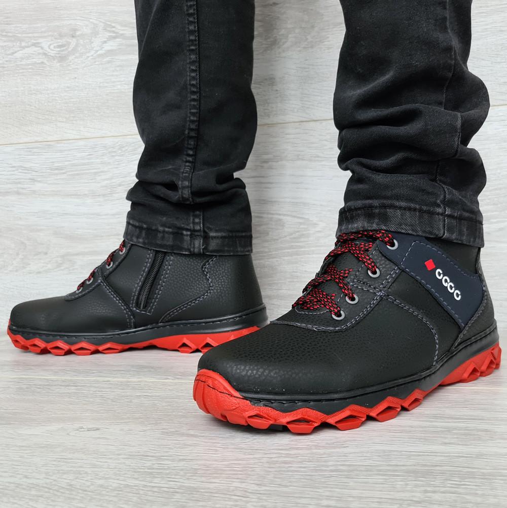 40 р. Зимние мужские ботинки черного цвета на протекторной подошве (ДБ-18пр)