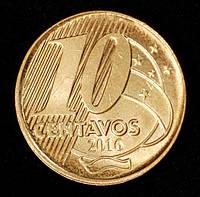 Монета Бразилии 10 сентаво 2016 г., фото 1