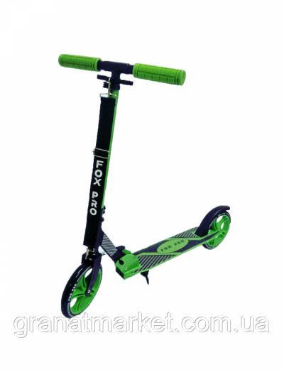 Самокат двухколесный Maraton Fox Pro зеленый Led фонарик