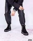 Ботинки женские с декором вокруг подошвы черные, фото 3