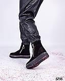 Ботинки женские с декором вокруг подошвы черные, фото 4