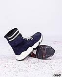 Зимние спортивные ботинки замшевые синие, фото 2