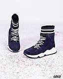 Зимние спортивные ботинки замшевые синие, фото 6