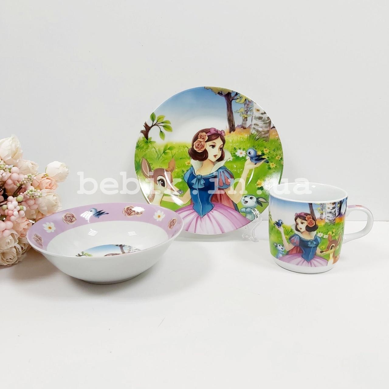 Набор детской посуды из керамики Белоснежка для девочек