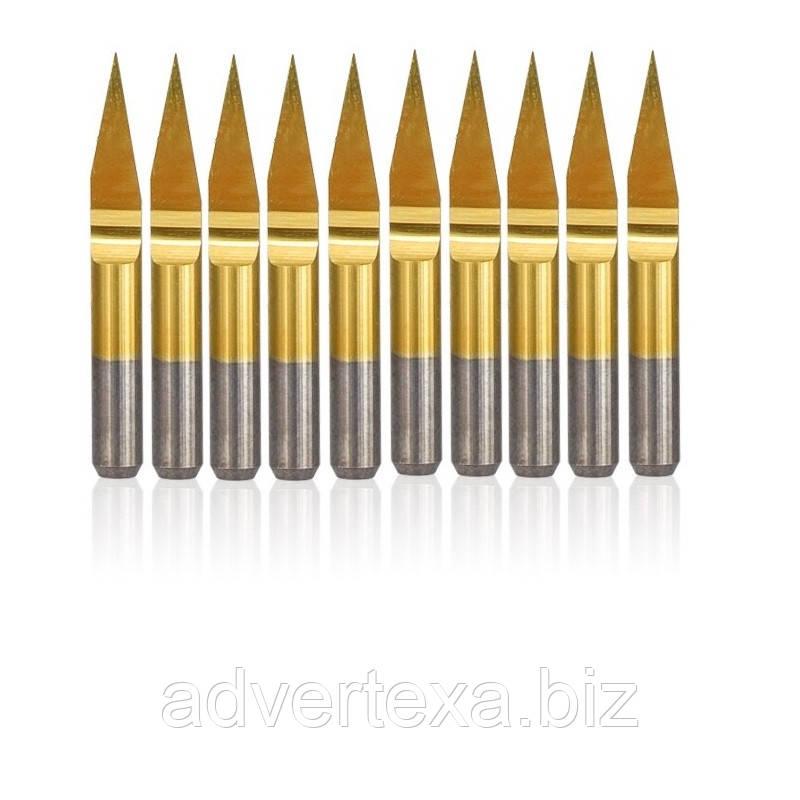 Набор фрез 0.1мм 20 градусов 3.175мм с титановым покрытием из вольфрамовой стали с общей длиной 30мм