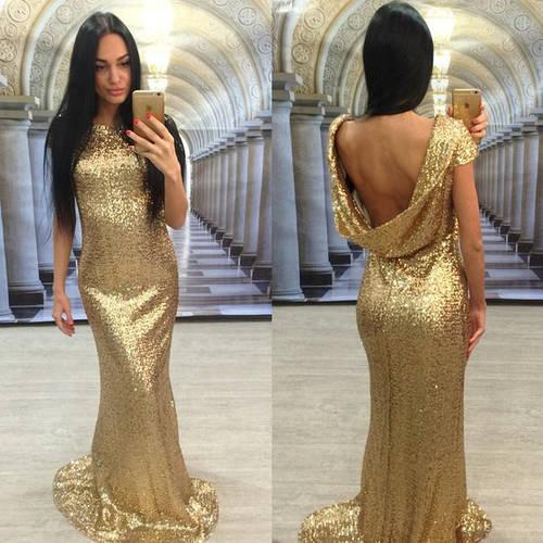 Платье макси с пайетками и открытой спиной