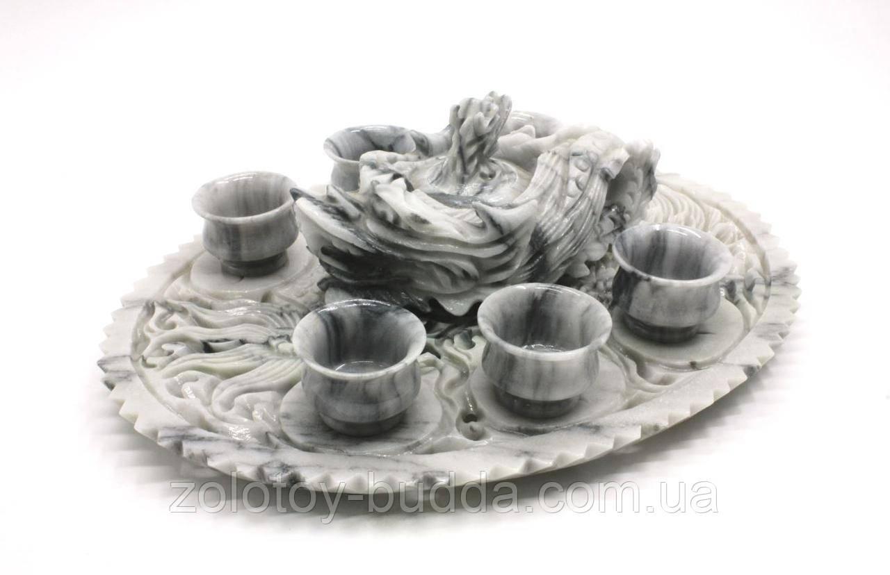 Чайный набор из серого мрамора, резьба китайских мастеров