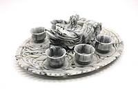 Чайный набор из серого мрамора, резьба китайских мастеров, фото 1