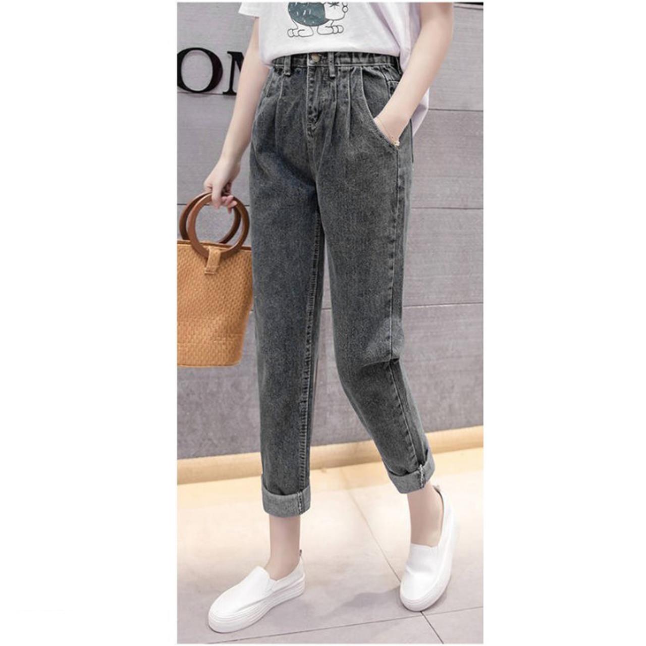 Штаны женские джинсовые короткие серые повседневные Girl #61